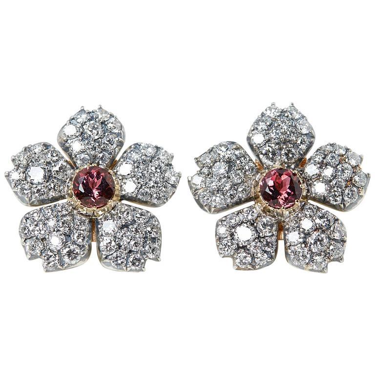 Cartier 18 Karat White Gold Pink Tourmaline & Diamond Vintage Earrings For Sale
