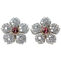 Cartier 18 Karat White Gold Pink Tourmaline & Diamond Vintage Earrings