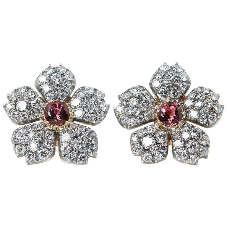 Cartier 18 Karat White Gold Pink Tourmaline & Diamond Vintage Earrings For Sale
