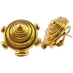 1970s Cartier Aldo Capullo Modernist Yellow Gold Earrings