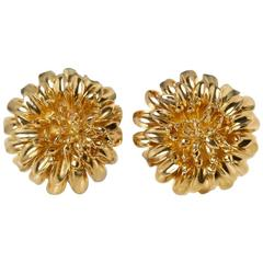 Tiffany & Co. Yellow Gold Chrysanthemum Earrings