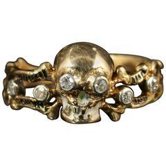 Memento Mori Diamond Skull Cross Bone Diamond Gold Ring