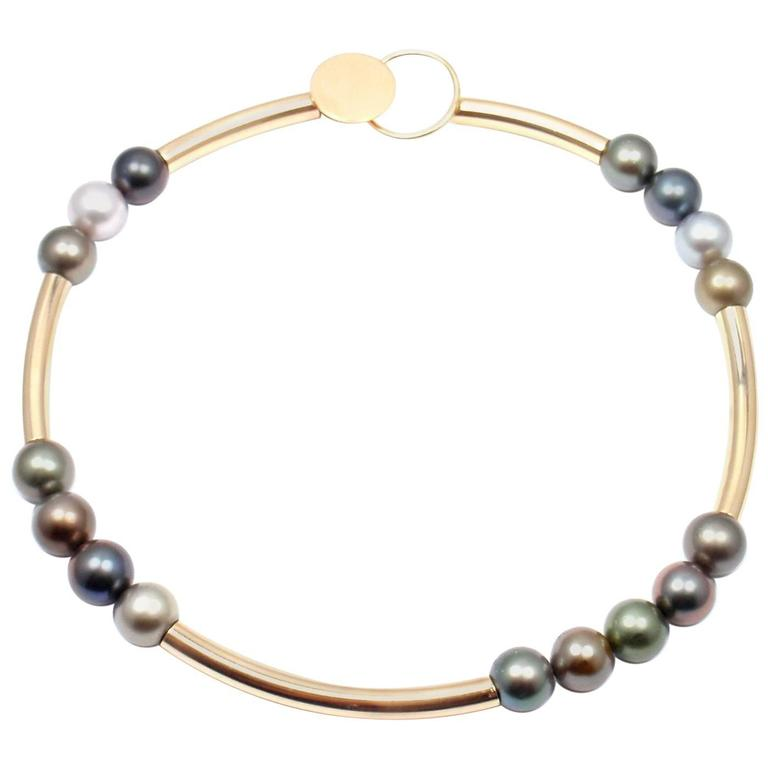 Modernist Betty Cooke Large Tahitian Pearls Yellow Gold Necklace