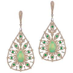 Ethiopian Opal Emerald Diamond Pear Shape Drop Earrings