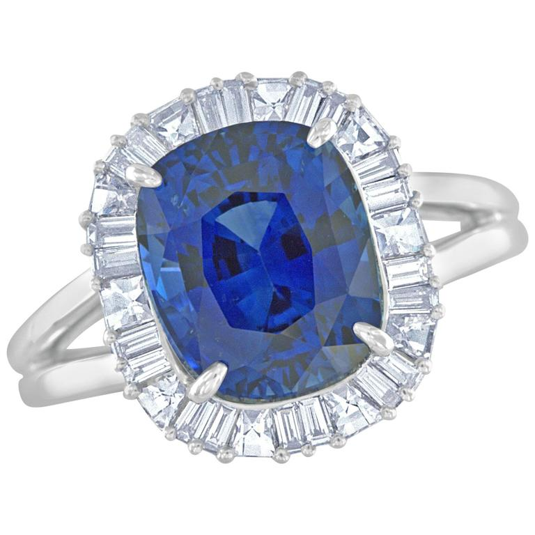 Bez Ambar 5.17 Carat Cushion Cut Sapphire and Diamond Platinum Ring