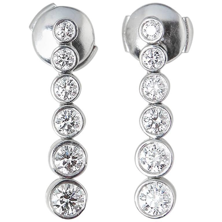 16527c89e Tiffany & Co. Platinum Round Brilliant Cut Diamond Drop Jazz Earrings For  Sale