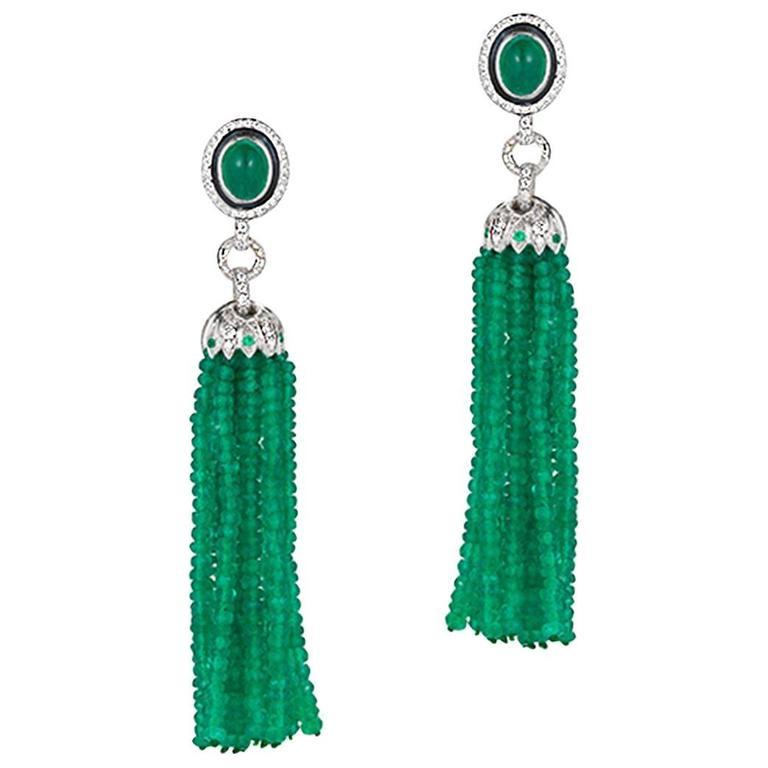 Ivanka Trump 64.38 Carat Emerald and Diamond White Gold Tassel Earrings