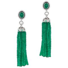 64.38 Carat Emerald and Diamond White Gold Tassel Earrings