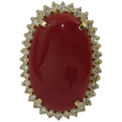 Ox Blood Coral Diamond Gold Ring