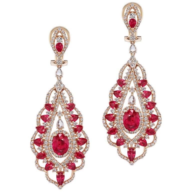 Ruby Diamond Chandelier Earrings For Sale at 1stdibs