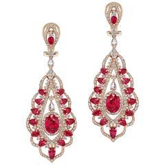 Ruby Diamond Chandelier Earrings