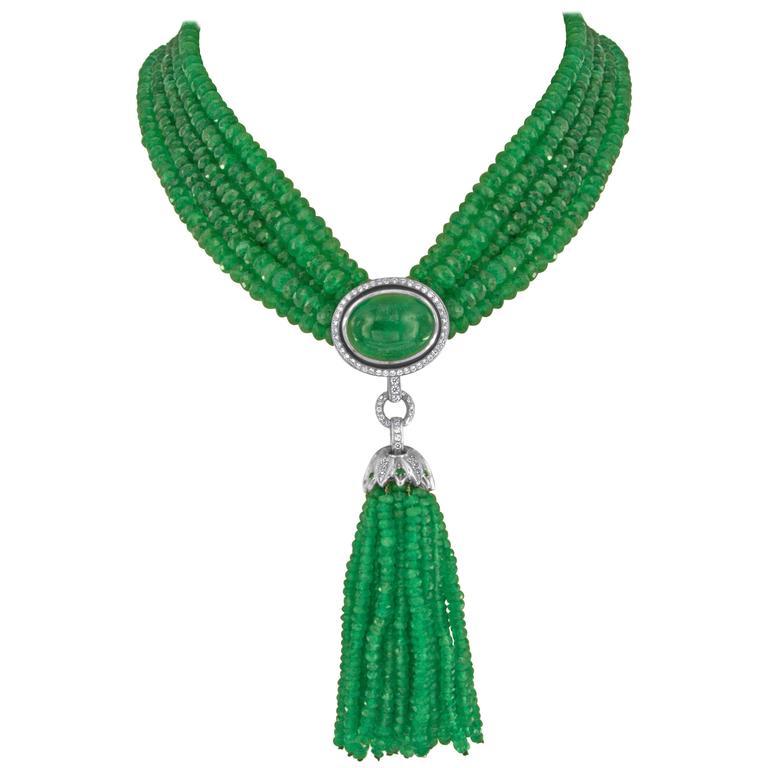 Ivanka Trump 408.31 Carat Emerald and Diamond White Gold Tassel Necklace