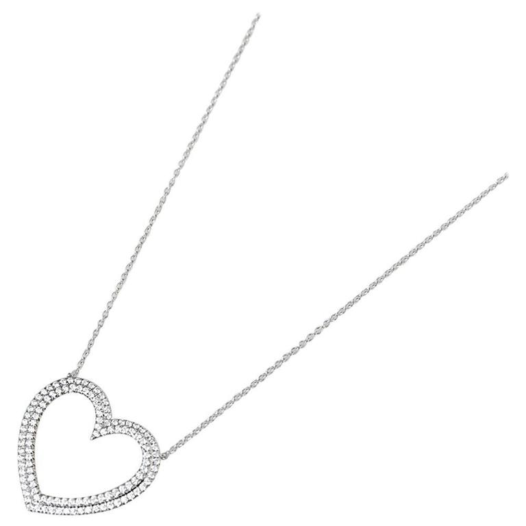 Tiffany & Co. Diamond Heart Platinum Metro Necklace