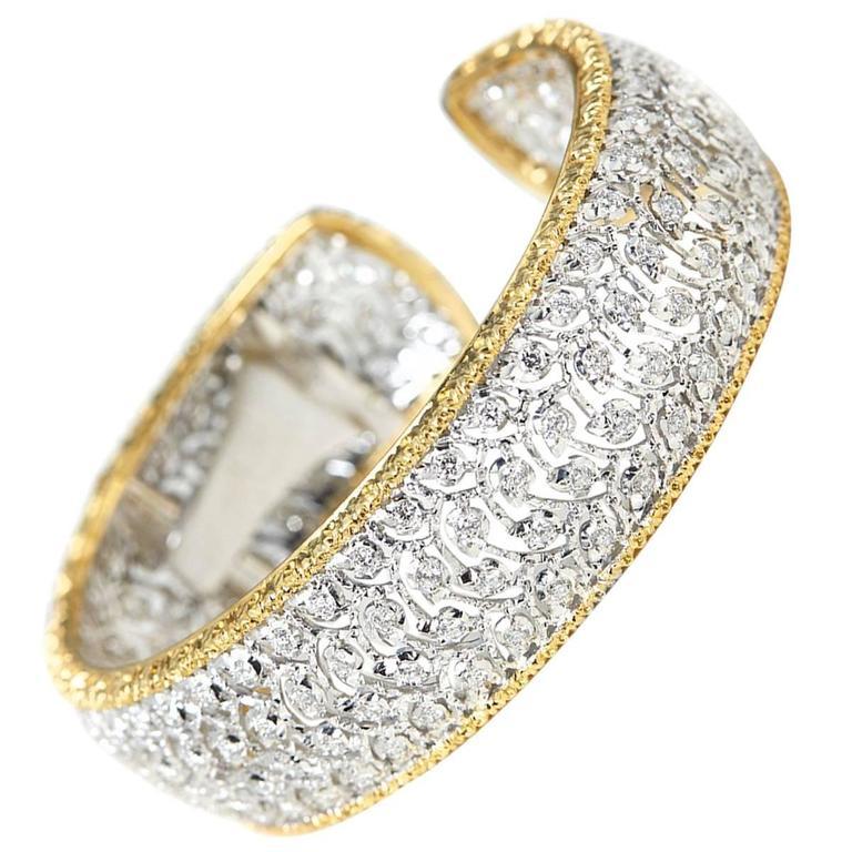 Buccellati 5.00 Carat Diamond White and Yellow Gold Cuff Bracelet