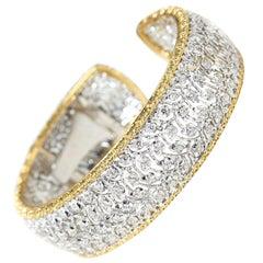Buccellati 18 Karat White & Yellow Gold 5.00 Carat Diamond Cuff Bracelet