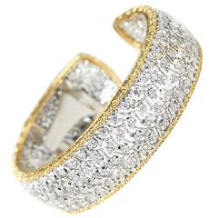 Buccellati 18 Karat White & Yellow Gold 5.00 Carat Diamond Cuff Bracelet