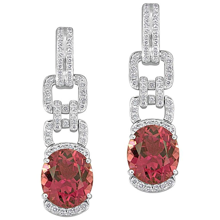 Pink Tourmaline Diamond White Gold Drop Earrings 1