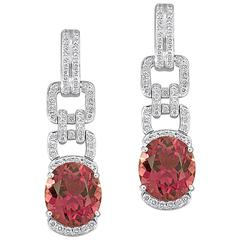 16.12 Carats Pink Tourmaline and Diamond Gold Drop Earrings