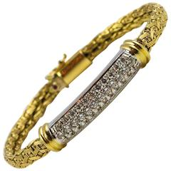 Roberto Coin Yellow Gold Woven Silk and Pave Diamond Bracelet