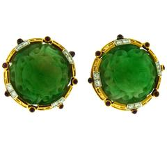 David Webb Carved Jade Ruby Diamonds 18 Karat Yellow Gold Platinum Earclips