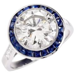 3.67 Carat Diamond Sapphire Platinum Engagement Ring