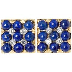 Van Cleef & Arpels 18 Karat Yellow Gold Lapis Lazuli & Diamond Cufflinks
