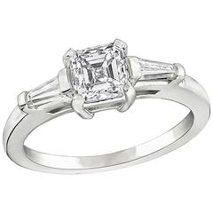 Enticing GIA Certified 0.90 Carat Diamond White Gold Engagement Ring