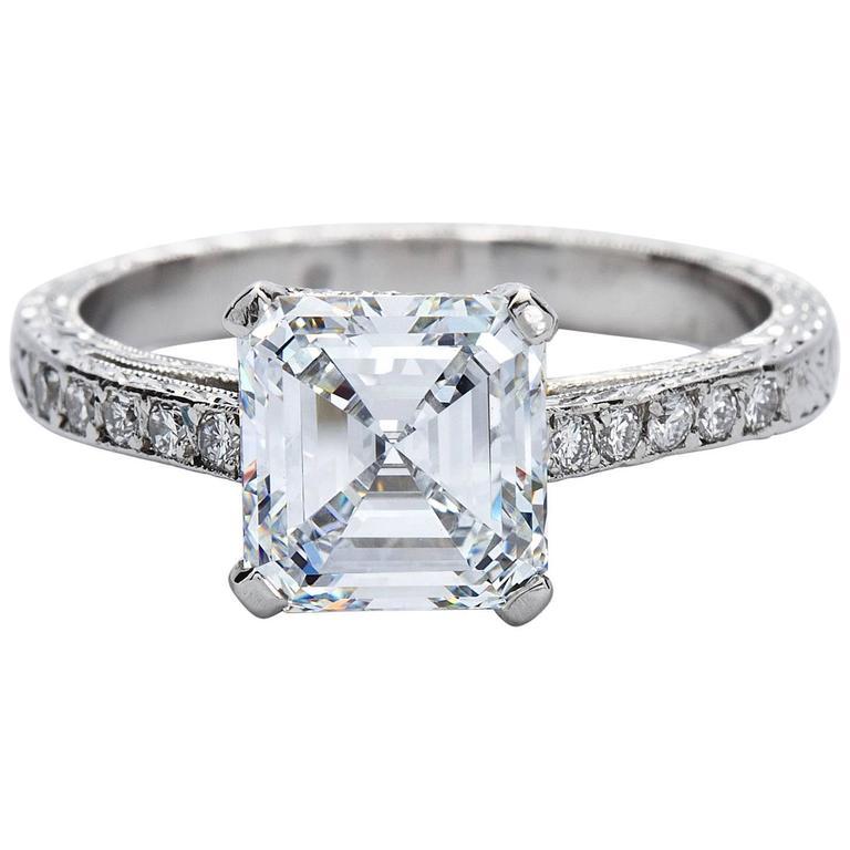 2.52 Carat GIA Square Emerald Asscher Cut Diamond platinum Engagement Ring For Sale