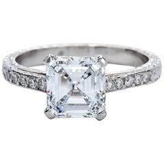 2.52 Carat GIA Square Emerald Asscher Cut Diamond platinum Engagement Ring