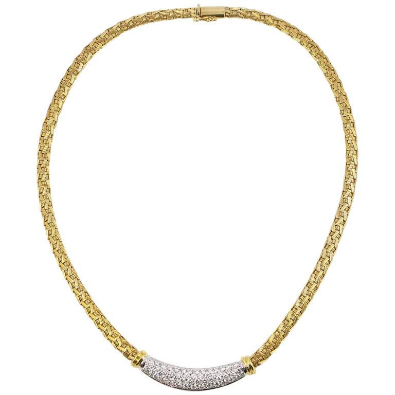 Roberto Coin Yellow Gold Pave Diamond Yellow Gold Woven Silk Necklace