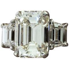 GIA Certified Emerald Cut Diamond Engagement Ring, 5.06 Carat