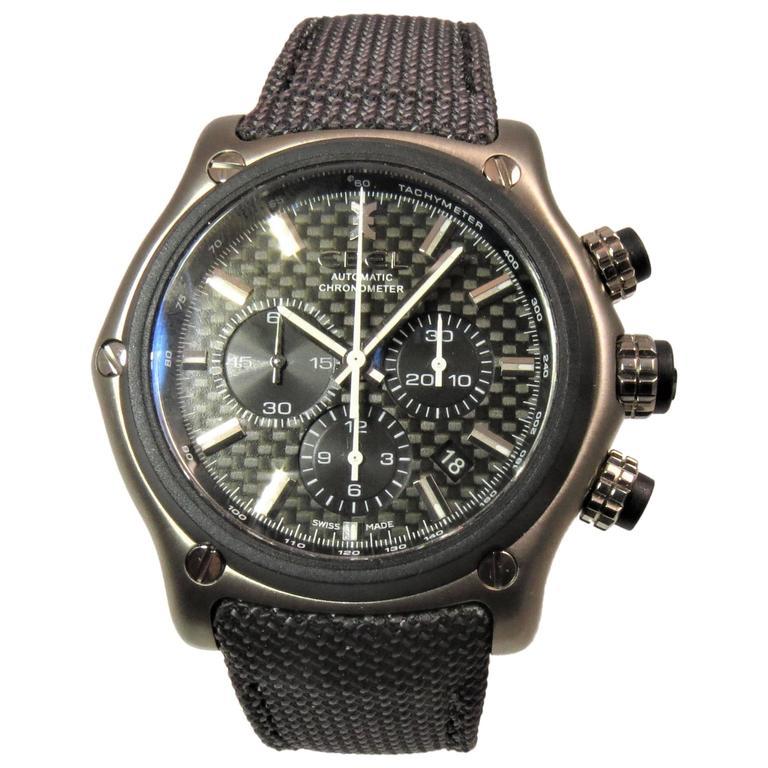 Ebel Titanium Chronograph Strap Deployant Buckle Automatic Wristwatch
