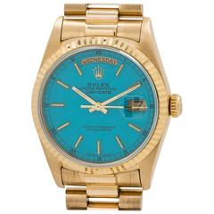 Rolex Yellow Gold Day Date President Custom Turquoise Wristwatch, circa 1993