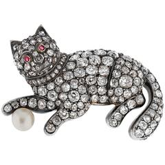 Victorian Diamond Cat Brooch