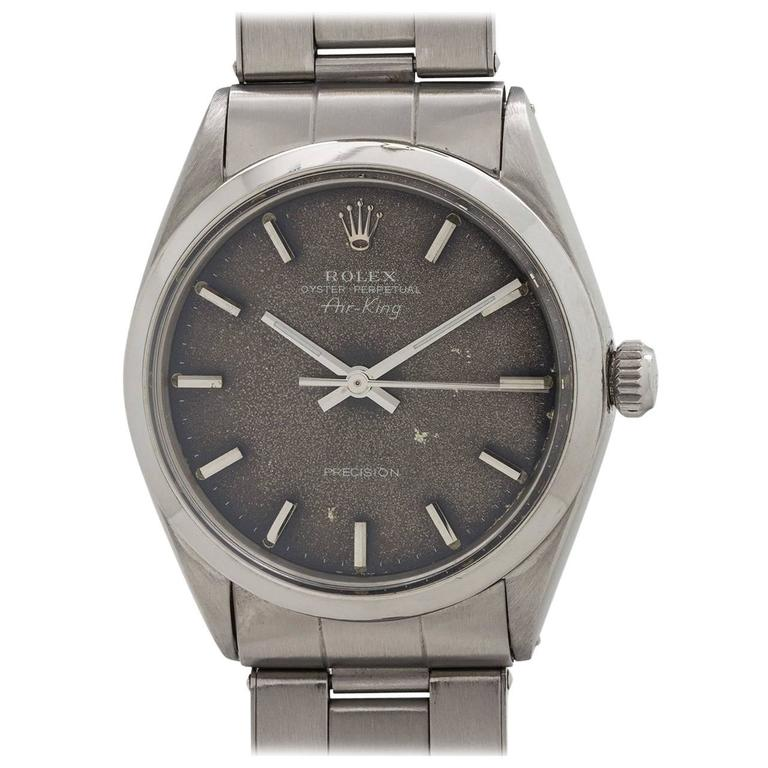 Rolex Stainless Steel Oyster Perpetual Tropical Dial Airking Wristwatch
