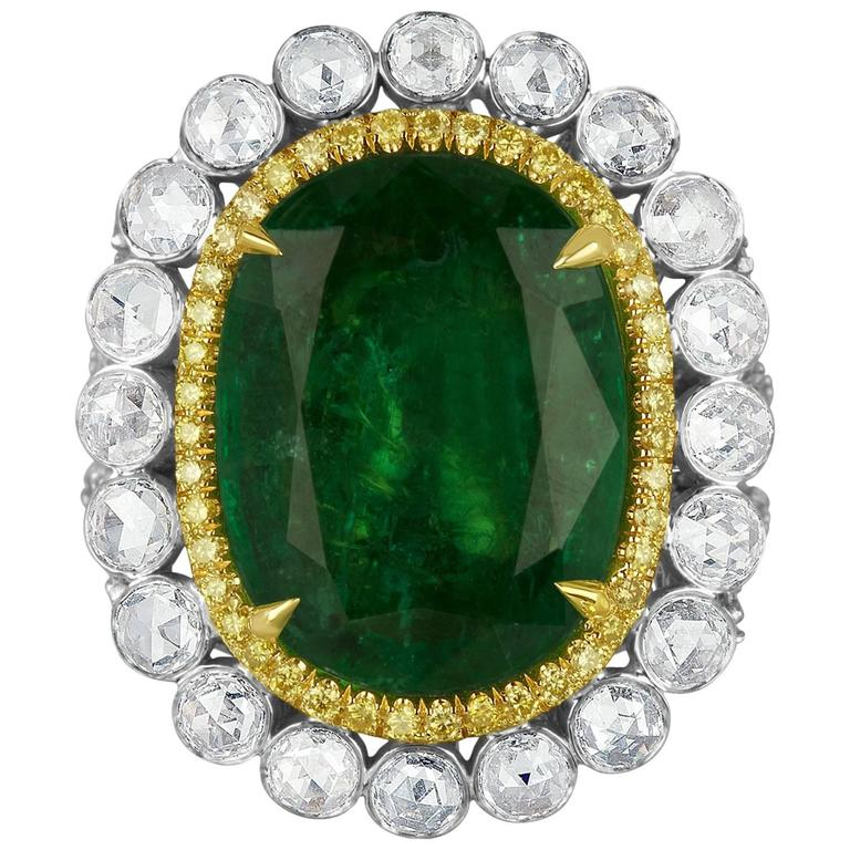 GIA Certified Emerald Diamond Double Halo Two Color Gold One of a Kind Ring For Sale