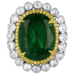 GIA Certified Emerald Diamond Double Halo Two Color Gold One of a Kind Ring
