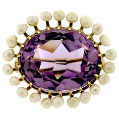 Lovely Amethyst, Pearl and Yellow Gold Brooch