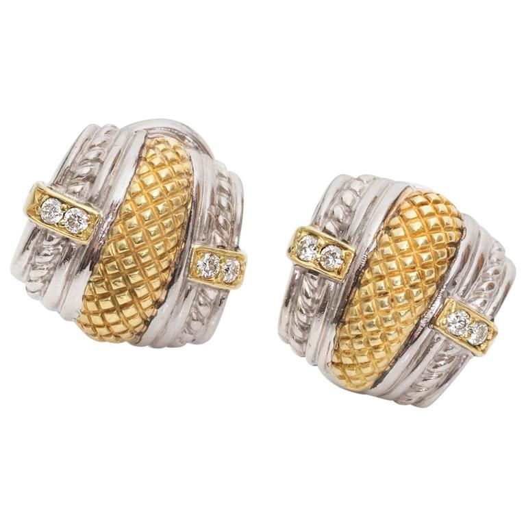 Judith Ripka Sterling Silver Diamond Gold Earrings For