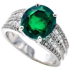 GRS certified 3 Carat Emerald Diamond White Gold Engagement Ring