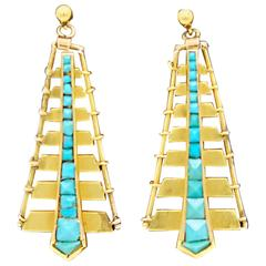 Egyptian Revival Turquoise Yellow Gold Dangle Earrings