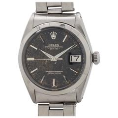 Rolex Stainless Steel Oyster Perpetual Date Tropical Gilt Dial Wristwatch
