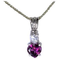 Heart Shape Rhodolite Garnet Zircon Sterling Silver Pendant