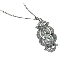 Estate Art Deco Round and Baguette Diamond Pendant Necklace