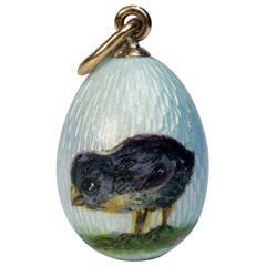 Faberge Antique Guilloche Enamel Egg Pendant