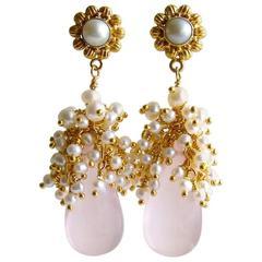 Rose Quartz Seed Pearl Cluster Earrings