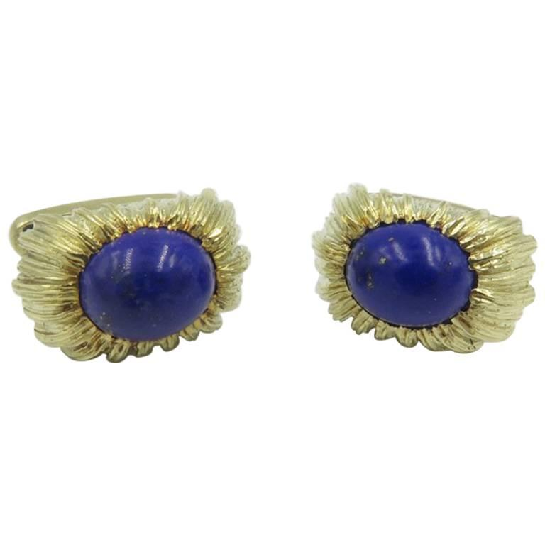 Lapis Lazuli and Gold Cufflinks For Sale