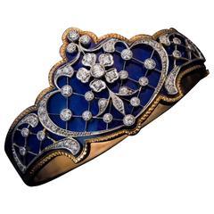 Belle Époque Antique Blue Enamel Diamond Platinum Gold Bracelet