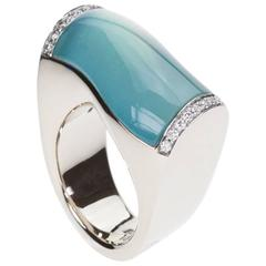 Vhernier Aquamarine Mother-of-Pearl Diamonds White Gold Onda Ring