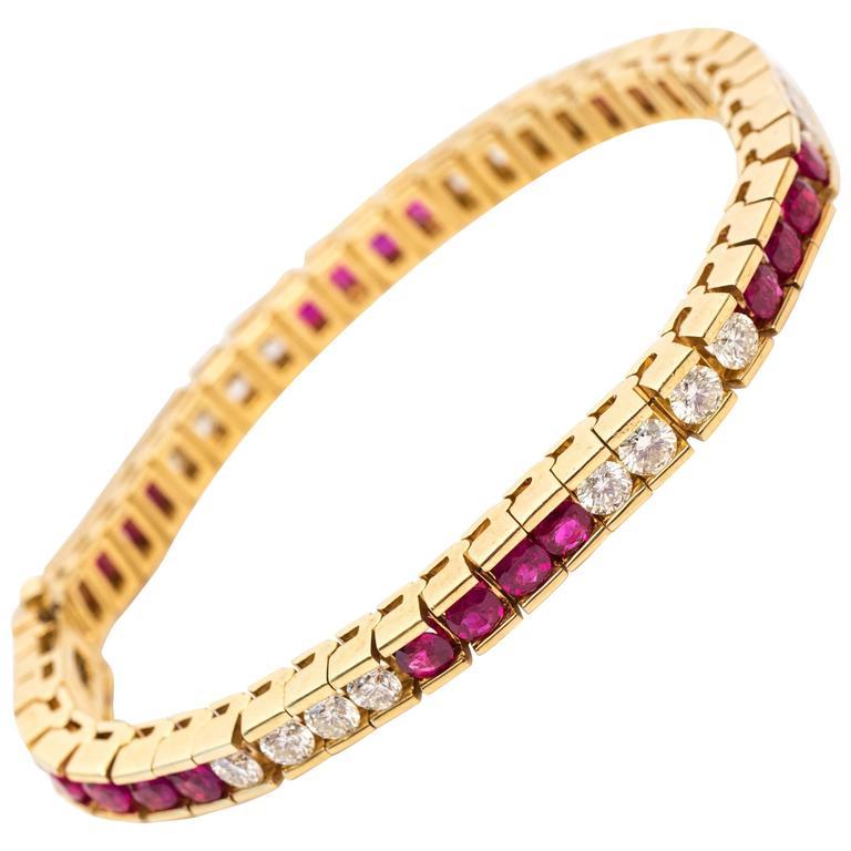 1980s Ruby Diamond Gold Bracelet